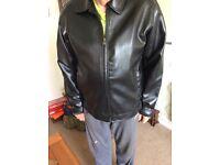 Men's black faux leather jacket large size