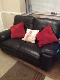 2 seater sofa & 2 armchairs all real leather electric recliners