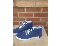 Timberland mens navy canvas hi top boots size 10