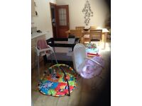 Baby bundle includes travel cot, baby walker, baby bouncer, play mat and high chair