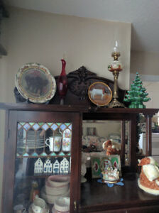 Antique maple display cabinet with leaded glass