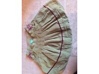 Monsoon girls velvet pistachio green skirt age 3-4 years VGC