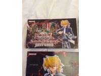 Yugioh joeys world box and collectors wooden play mat plus rare cards
