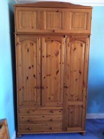 (TWO) Triple Door Pine Wardrobes