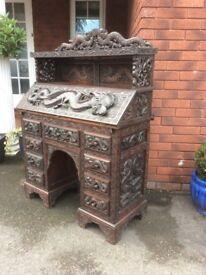 19th Century Oriental Neo Carved Writing Bureau