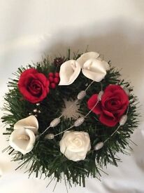 Red rose and Lilly Christmas wreaths
