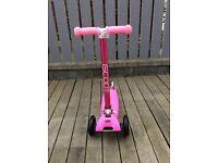 iScoot© Pro v2 Delux Pink Tilt Kickboard Mini T-Bar 3 Wheel Kick Scooter Bobbi Board Girls