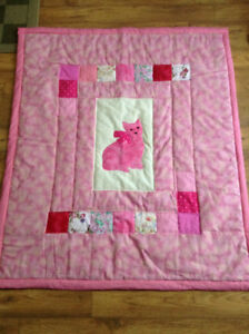 Baby Quilt - Pink Kitty ! Homemade locally!