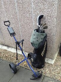 Golf bag Trolley and assorted Clubs