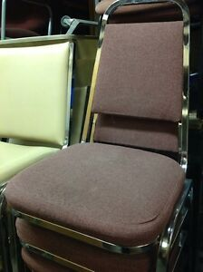 PADDED STACKABLE LIGHT BURGUNDY CHROME METAL FRAME CHAIRS Kitchener / Waterloo Kitchener Area image 3