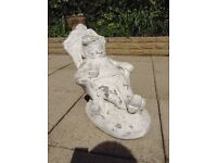 Weathered Garden Ornament Stone Relaxed Seated Gnome