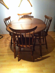 Handcrafted round solid wood dining room table set