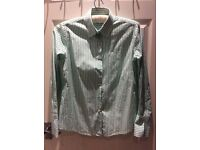 MILANO ITALY STRIPED GREEN & WHITE SHIRT 40 - 12UK