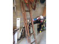 Wooden ladder extending