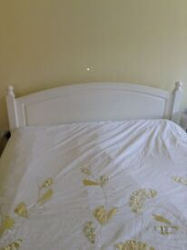 White Solid Wood King Size Bed