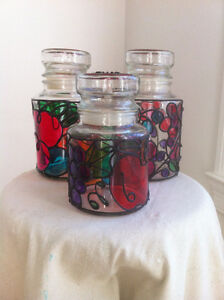Gorgeous Stained Glass Cannister Set