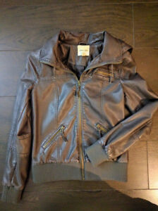 Silence + Noise Vegan Leather Jacket Women Size XS
