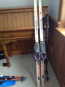 Cross country Kids skiis boots and poles