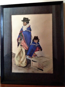 Painting - Colombian Mother and Child - 22 x 28 framed
