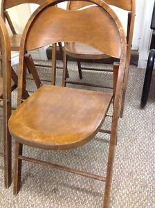 ANTIQUE ROUND TOP WOODEN FOLDING CHAIRS Kitchener / Waterloo Kitchener Area image 2