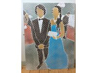 Aerosol painting of couple at a prom