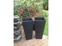 Zinc galvanised black flared square planters 90cm high £25 each
