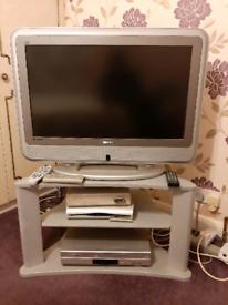 Bush television plus stand flat panel plus video sky box