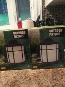 Two outdoor light fixtures