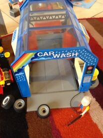 Playmobil car wash and workshop with go kart, quad bike and car