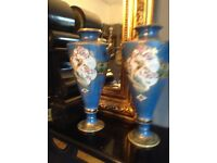 Lovely pair old antique vintage hand painted vases