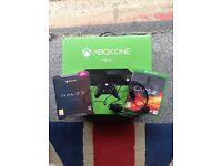 Xbox one 1tb few months old newest model newest controller headset and new sealed halo steel edition