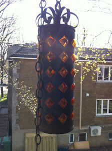 Mid Century Wrought Iron Amber Bubble Glass Swag Lamp 1960