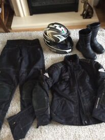 Ladies motorcycle jacket trousers and boots