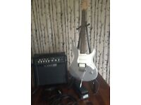 Yamaha guitar with Lin e 6 amp and Dunlop was pedal