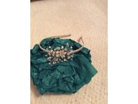 Clear beaded headpiece with covered gold band