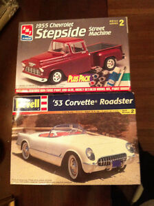 2 Model Kit Cars: '53 Corvette, '55 Chevy Stepside