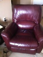 Red leather electric recliner