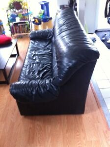 3 seat black faux leather couch