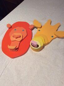 2 solid wood animal coat hooks/hangers for Childs bedroom