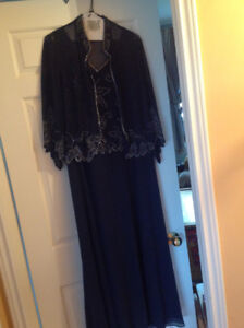 Navy formal dress size 12P with matching jacket