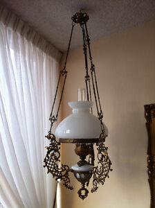 Ornate, Vintage Victorian Replica Hanging Hurricane Lamp