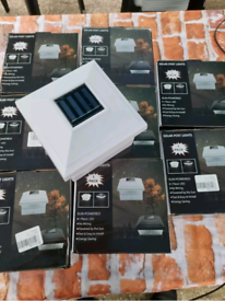Joblot 8 pcs Solar Powered LED Decking Post Lights Garden post Cap Squ
