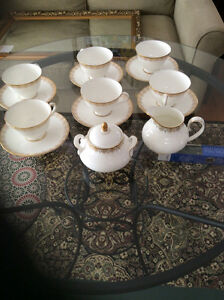 Royal Doulton Gold Lace cups, saucers, cream and sugar