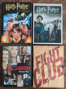 Harry Potter, Grey's Anatomy and Fight Club DVDs