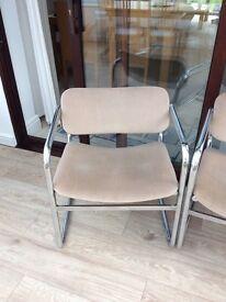 Vintage chairs TWO steel tubular upholstered modern designer 1960's