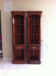 2 Roxton Solid Maple Dark Finish Corner Bookcases Storage Units