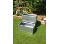 Zinc galvanised silver trough planters
