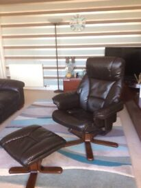 2x brown leather recliners with footstool.