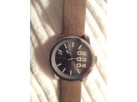 Mens Diesel Watch Brown Leather Strap