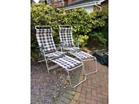 Camping chairs with footstool x 2